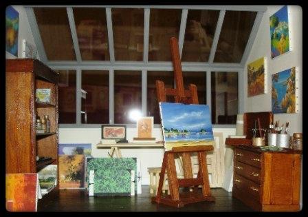 Vitrine miniature atelier de peintre - Atelier artiste peintre ...